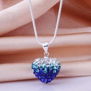 Silver-Tone Czech Diamond Necklace earrings set